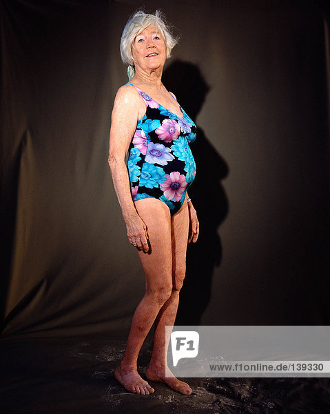 A mature woman in a swimsuit