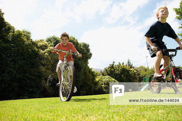 Young boys cycling in park