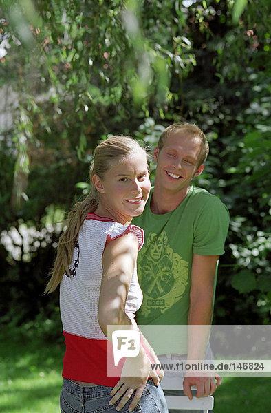 Happy couple in the garden