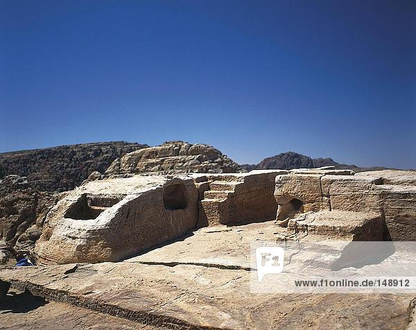 Old ruins of steps of place of sacrifice  Jordan