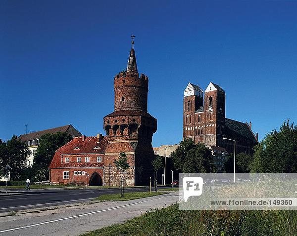 Church on roadside under clear sky  Bautzen  Oberlausitz  Saxony  Germany