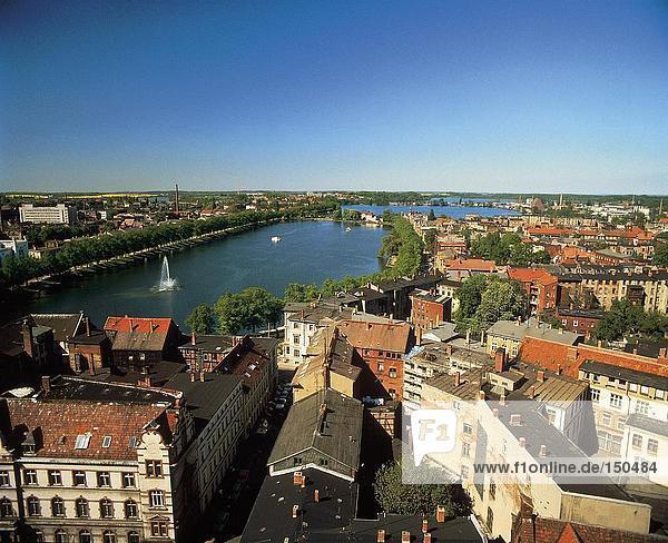 Erhöhte Ansicht des River in der Stadt  Schwerin  Deutschland
