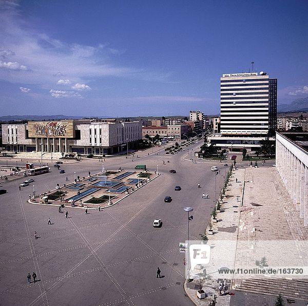 Buildings in city  Skandenberg Square  Tirana  Albania