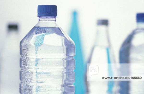 High section of bottled water