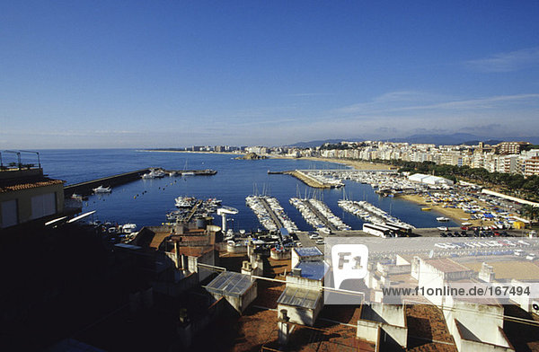 Boats in harbour  Blanes  Costa Brava  Catalonia  Spain