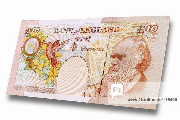 Britische Banknoten Zehn Britische Pfund  Nahaufnahme