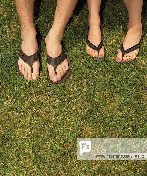 Männliche und weibliche Füße in Sandalen