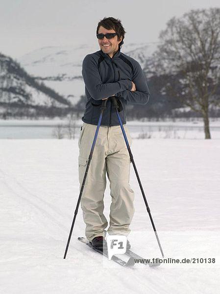 Skier taking a break