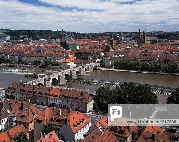 Aerial view of arch bridge across river  Bavaria  Germany