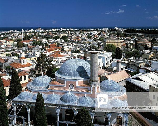 Großstadt Ansicht Luftbild Fernsehantenne Griechenland Moschee Rhodos