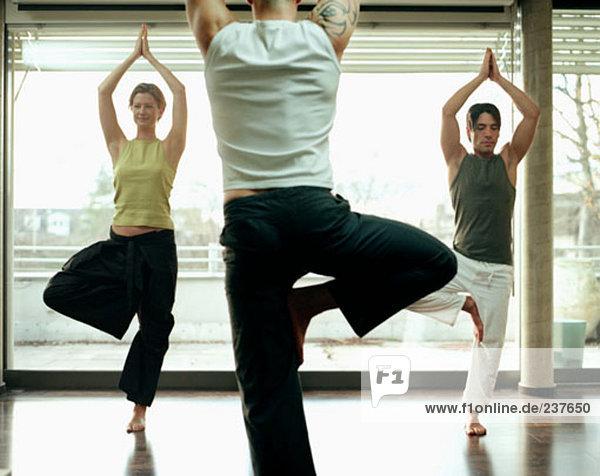 Gruppe von Personen  die Yoga-Übungen im studio