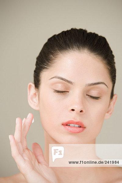 Girl with moisturiser