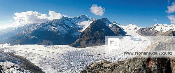 Europa Berg Eis Alpen Panorama Schweiz Kanton Wallis