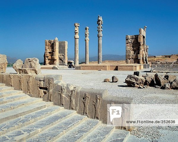 10560068  Apadana  behind  Xerxes gate  Iran  Middle East  culture  wall  Persepolis  reliefs  Takht e Jamshid  stair  Ancient