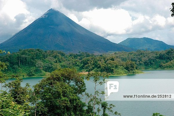 Lake in front of volcano  Arenal Volcano National Park  Costa Rica