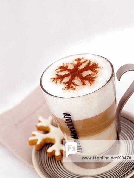 Seifenschaum Schaum Tasse Schneeflocke Dekoration Kaffee
