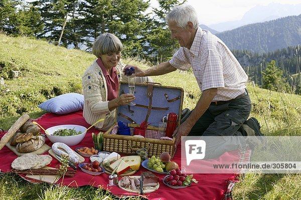 Älteres Ehepaar macht ein Picknick in den Bergen - Ausflug - Zweisamkeit  fully_released
