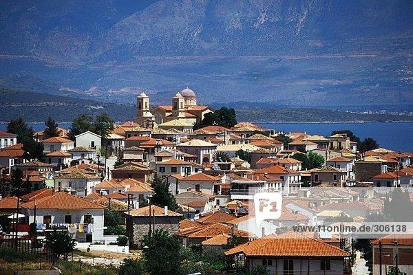 Town at coast  Bay of Itea  Galaxidi  Greece