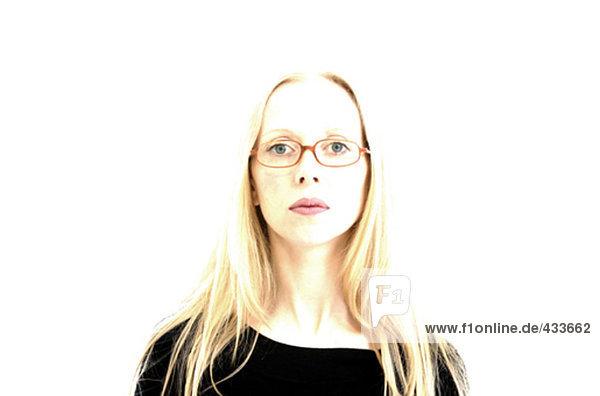 überbelichteten Portrait einer Frau with Gläser
