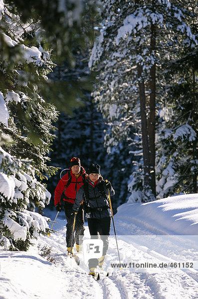 Zwei Skifahrer ich Wintertag.