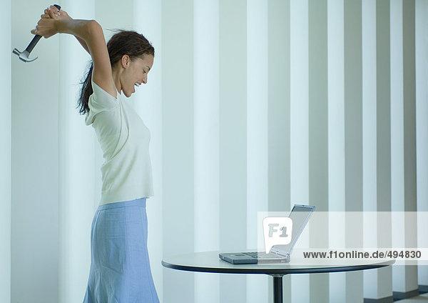 Frau schreit und schwingt Hammer am Laptop Frau schreit und schwingt Hammer am Laptop