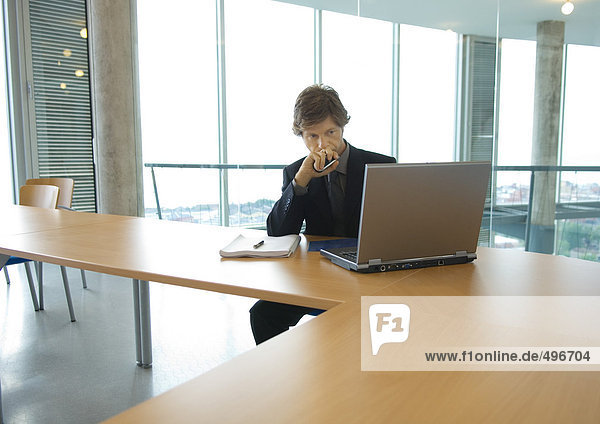 Geschäftsmann bei der Arbeit mit dem Laptop