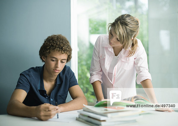 Teenager Junge und Mädchen machen gemeinsam Hausaufgaben
