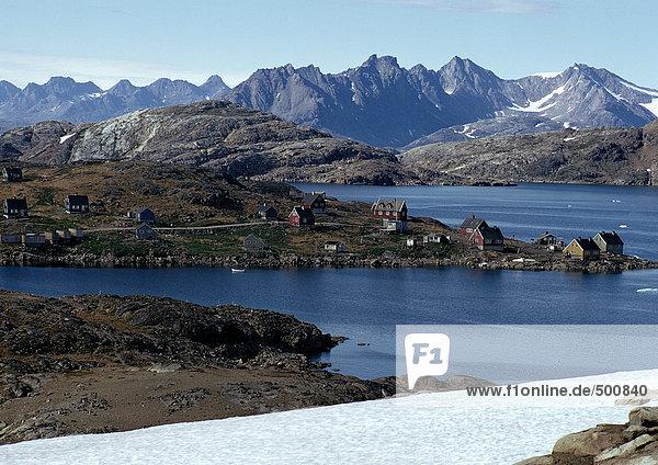 Grönland  Häuser in Küstennähe