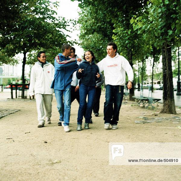 Gruppe von Teenagern  die Seite an Seite im Park spazieren gehen.