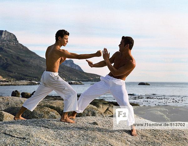Zwei Männer beim Kampfsport vor dem Meer