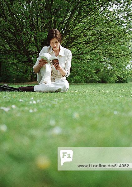 Frau auf Gras sitzend  Buch lesend