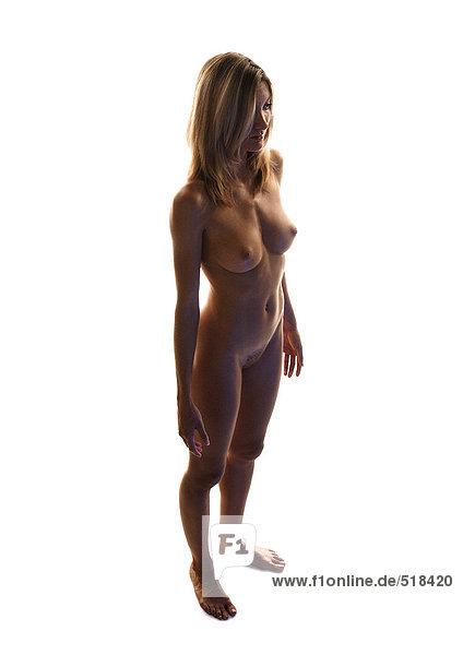 Nackte Frau stehend  volle Länge  hoher Blickwinkel
