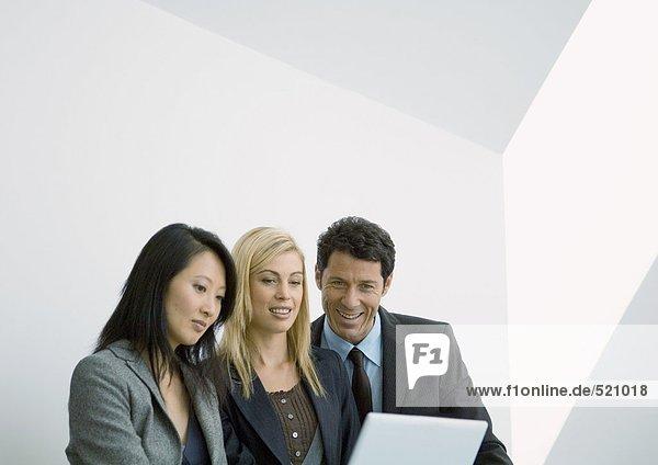 Geschäftsleute  die auf den Laptop schauen