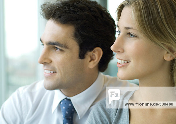 Männliche und weibliche Geschäftspartner  Profil  Portrait