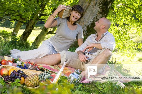 Pärchen beim Picknick unter dem Baum