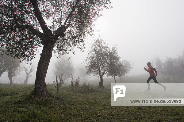Italien  Toskana  Mann joggen im Nebel  Seitenansicht