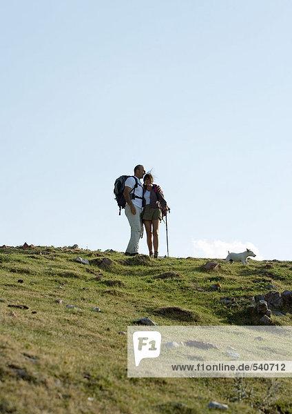 Wanderer in Berglandschaft