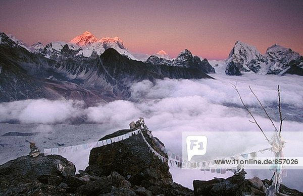 Panorama von Everest zu Taweche. Himalaya. Nepal