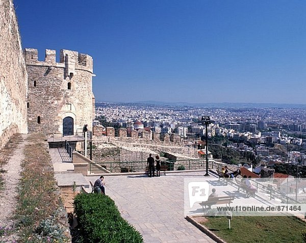 Trigonion Tower and city view. Ano Poli (upper city). Thessaloniki. Greece
