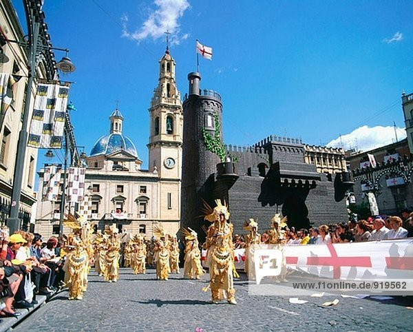 ´Moros y Cristianos´  lokalen Festival. Alcoi. Provinz Alicante. Spanien