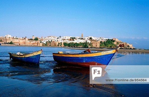 Boote am Bou Regreg River. Rabat. Marokko