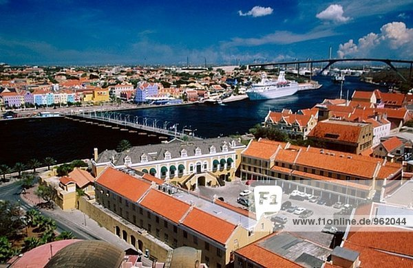 Punda seen from the Plaza Hotel. Willemstad  chief town of Curaçao. Netherlands Antilles