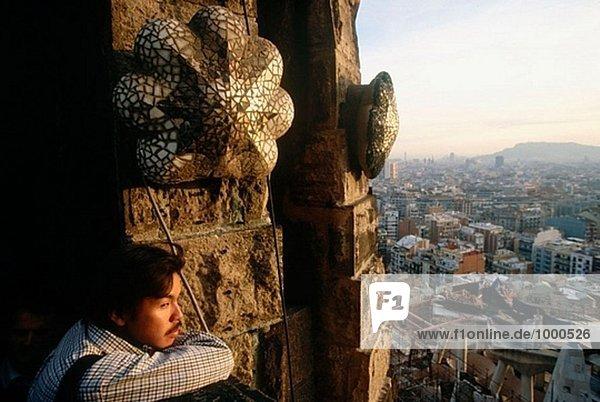 Barcelona seen from Sagrada Familia  Catalonia  Spain