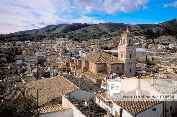 Caravaca de la Cruz. Medieval neighbourhood. Salvador church. Murcia province. Spain.