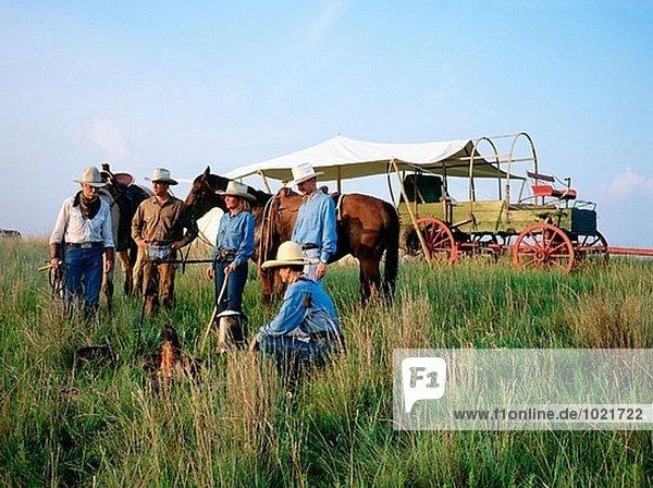 Cowboys im Camp. Fort Worth. Texas. USA