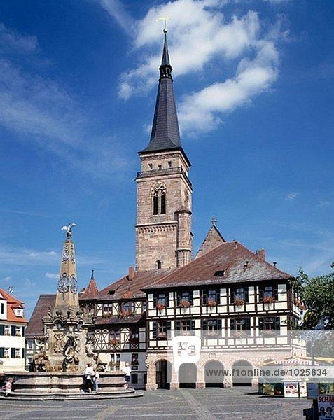 Germany  Bavaria  Schwabach  market place  spring  St. Martin Church  city hall