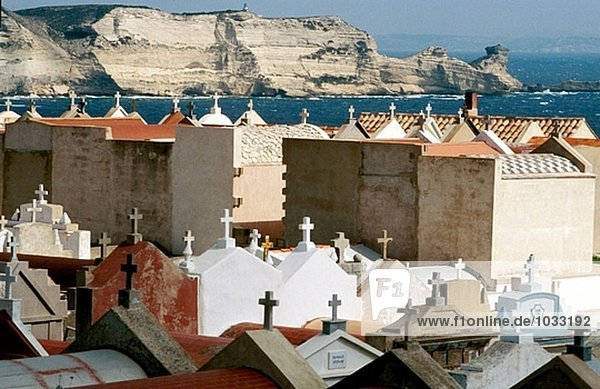 View on the cliffs from the citadel with the cemetery at fore. Bonifacio  Corsica Island. France