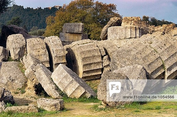 Temple of Zeus  ruins of ancient Olympia. Peloponnese. Greece