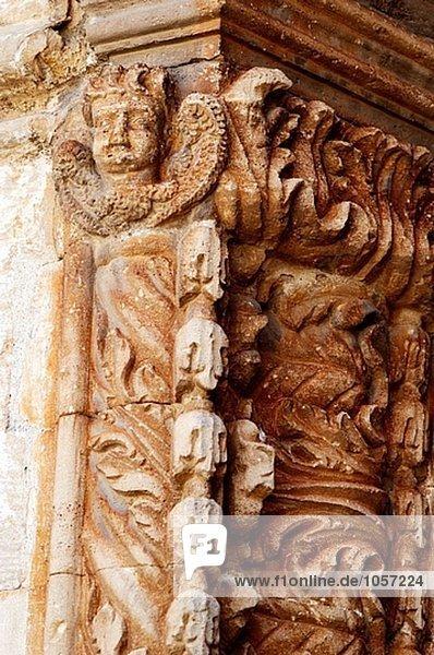 Detail der Skulptur Dekoration. Campos. Mallorca  Balearen. Spanien