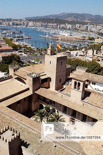 Almudaina royal palace seen from the rooftop of the cathedral. Palma de Mallorca. Majorca  Balearic Islands. Spain